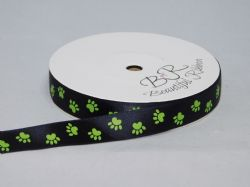 Black with Leaf Green Paw Print  Satin or Grosgrain ribbon 2, 20 25 metres Double sided 16mm 15mm